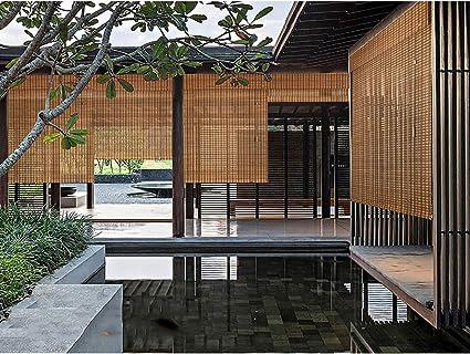 Persianas Enrollables de Persiana de Invernadero de Bambú al Aire Libre de Carbono Carbonizado, Protector Solar Protección UV, Patio a Prueba de Agua Gazebo Pergola Porche Toldos de Jardín: Amazon.es: Hogar