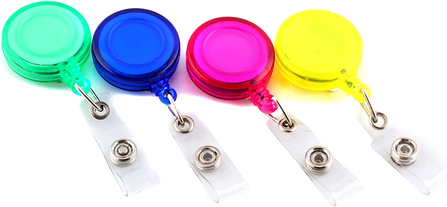 Blue//Red Recoil ID Badge Lanyard Retractable Reel Tag Key Card Holder Belt ClipF