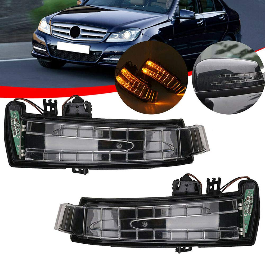 Left or Right Side Mirror Indicator Turn Signal Blinker for Mercedes Benz W204 W212 W221 Rearview Mirror Turn Signal Light Wing Mirror LED Turn Signal Lamp Replacement