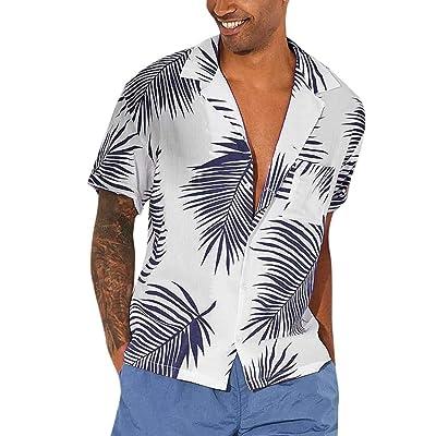AOJIAN Men T Shirts Short Sleeve T-Shirt Tee Hawaii Aloha Shirts Tunic Blouses Vest Tank Tops at Men's Clothing store