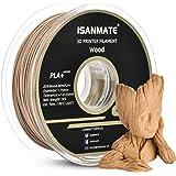 iSANMATE Wood Filament 1.75mm, PLA+ Wood Filament 1.75mm, 3D Printer Filament 1 kg Spool (20% Wood Powder+80% PLA+)