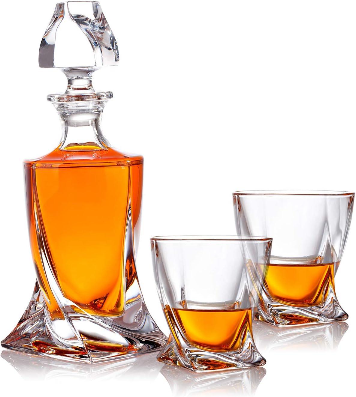 1000 ml Geschenk f/ür M/änner und Frauen Whisiskey/® Whiskey Karaffe 9 Whisky-Steine und Geschenkt/ülle Inkl Gewehr 2 Whisky Gl/äser Whisky Karaffe Set