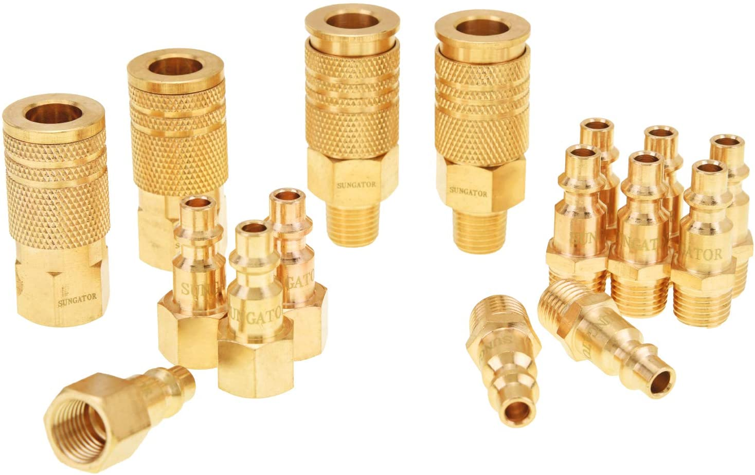 "Air Fittings, Air Coupler and Plug Kit, Solid Brass Quick Connect Set, Industrial 1/4"" NPT Air Tool Fittings Set with Storage Case (16-Piece) - -"