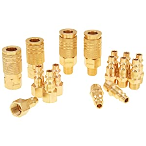 """Air Fittings, Air Coupler and Plug Kit, Solid Brass Quick Connect Set, Industrial 1/4"""" NPT Air Tool Fittings Set with Storage Case (16-Piece)"""