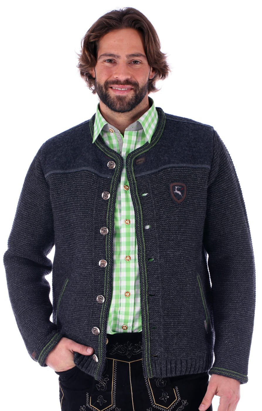 Traditional german cardigan Ramstein SJ greygrass by Spieth & Wensky