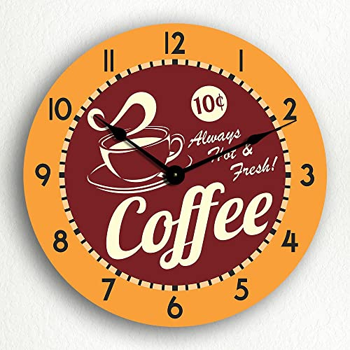 Classical Creations Coffee Hot Fresh Retro Style 12 Silent Wall Clock