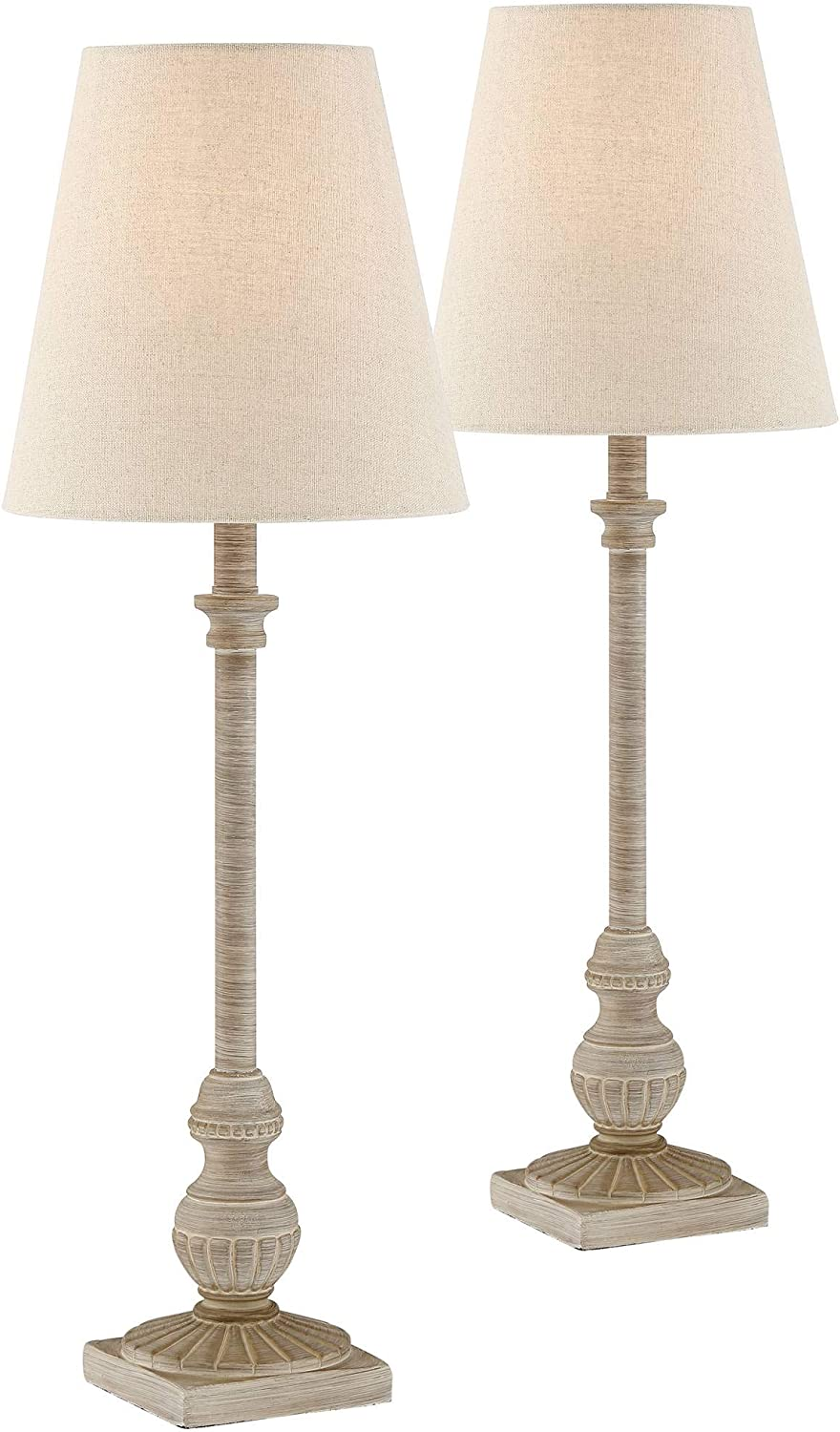 Loreno Traditional Buffet Table Lamps Set of 2 Whitewashed Beige Tapered Shade for Dining Room - Regency Hill