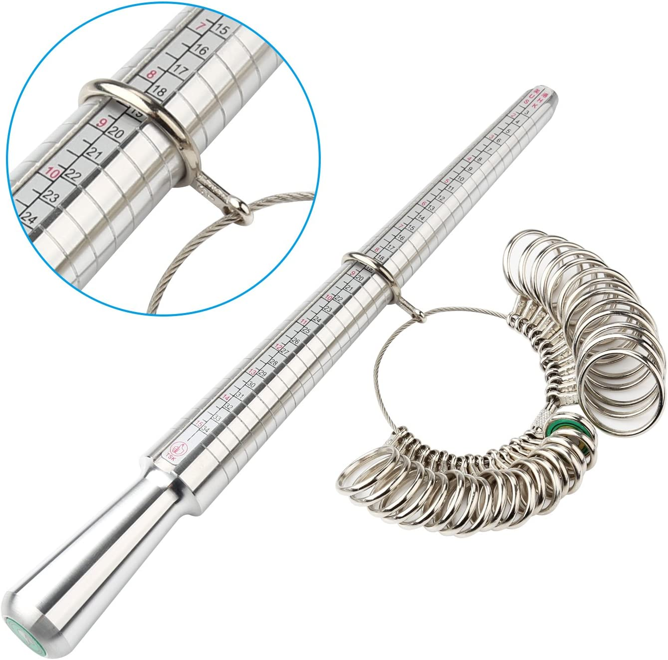 Accmor Ring Size Measuring Tool with Ring Mandrel /& Ring Sizer Guage Ring Stick Jewelry Mandrel and Ring Gauge Finger Sizing for Jewelry Making