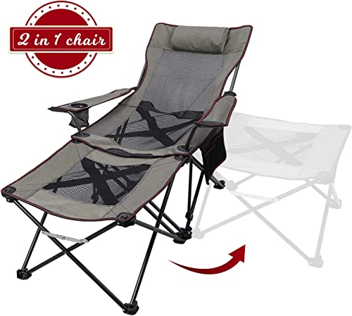 Xgear 2 in 1 Camping Chair with Footrest Recliner Folding Chaise Lounge Chair Footrest Can Transform to Side Table Very Stable, for Fishing, Beach, Picnics, Festival,Leisure