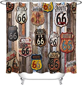 LB US Route 66 Signs Shower Curtain Set American Gasoline Station Garage Highway Poster Rustic Wood Shower Curtains for Bathroom with Hooks 72x72 inch Waterproof Polyester Fabric Bathroom Decorations