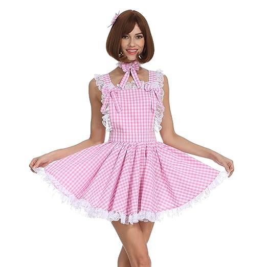 9a2c4bc5ddf GOceBaby Sissy Maid Pink Gingham Trimmed Lace Bow Dress Crossdress (Medium)