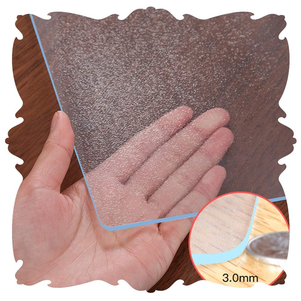 Color : 1.3mm, Size : 60x60cm JIAJUAN PVC Chair Mat Thick Protection Translucent Multipurpose For Office Home Carpet Hard Floor Mats Table Pads Customizable