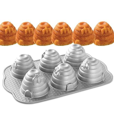Nordic Ware-Molde para tartas, 6 y colmenas abejas fundido antiadherente.