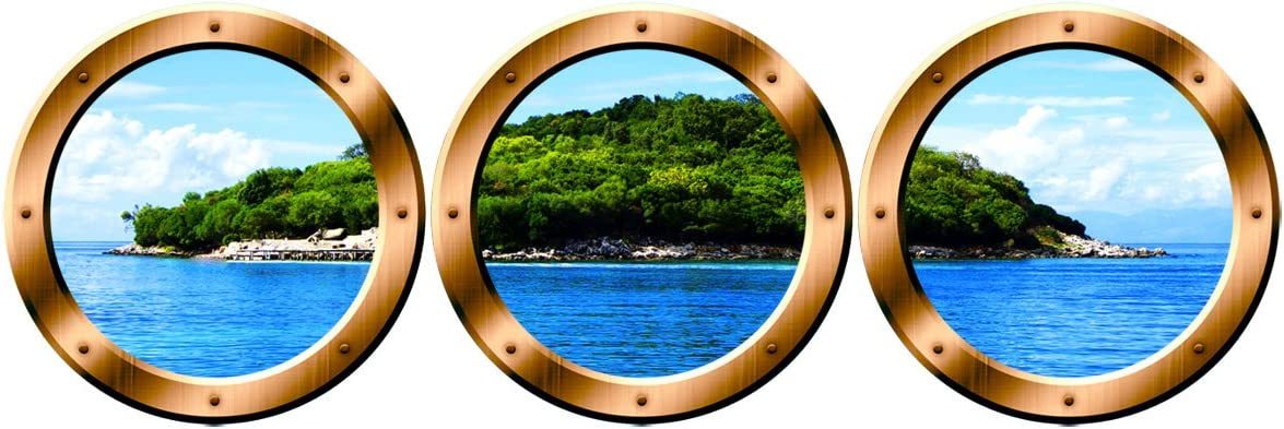 Amazon Com Vwaq Wall Art Portholes Nature Window Clings Cruise Ship Decals Spw8 14 Diameter Bronze Home Kitchen
