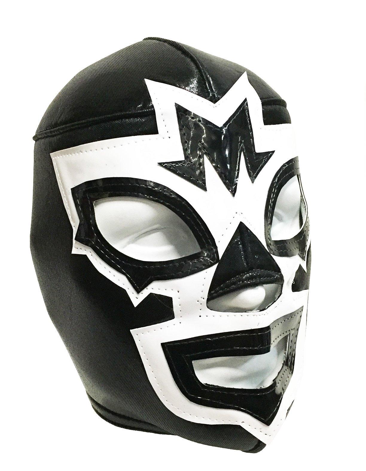 MASK MANIAC Adult Lucha Libre Wrestling Mask (pro-fit) Costume Wear - Black/White