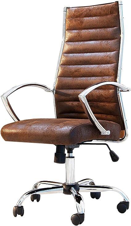 Dunord Design Sedia Da Ufficio Office Stile Vintage Colore Caffe Amazon It Casa E Cucina