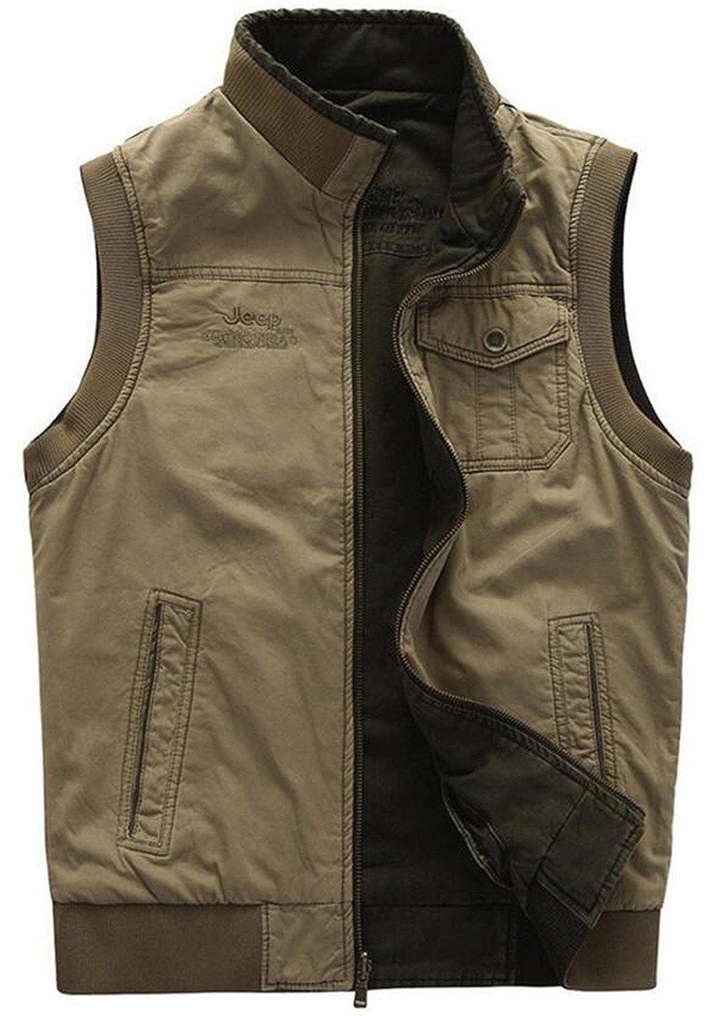 JEWOSOR Mens Cotton Pockets Military Gilets Outdoors Travels Sports Vest XS-5XL VEST8522