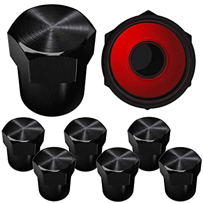 SAMIKIVA Brass Rubber Seal Tire Valve Stem Caps, Dust Proof Covers Universal fit for Cars, SUVs, Bike and Bicycle, Trucks, Motorcycles Flat Top (Black (8 Pack)): Automotive