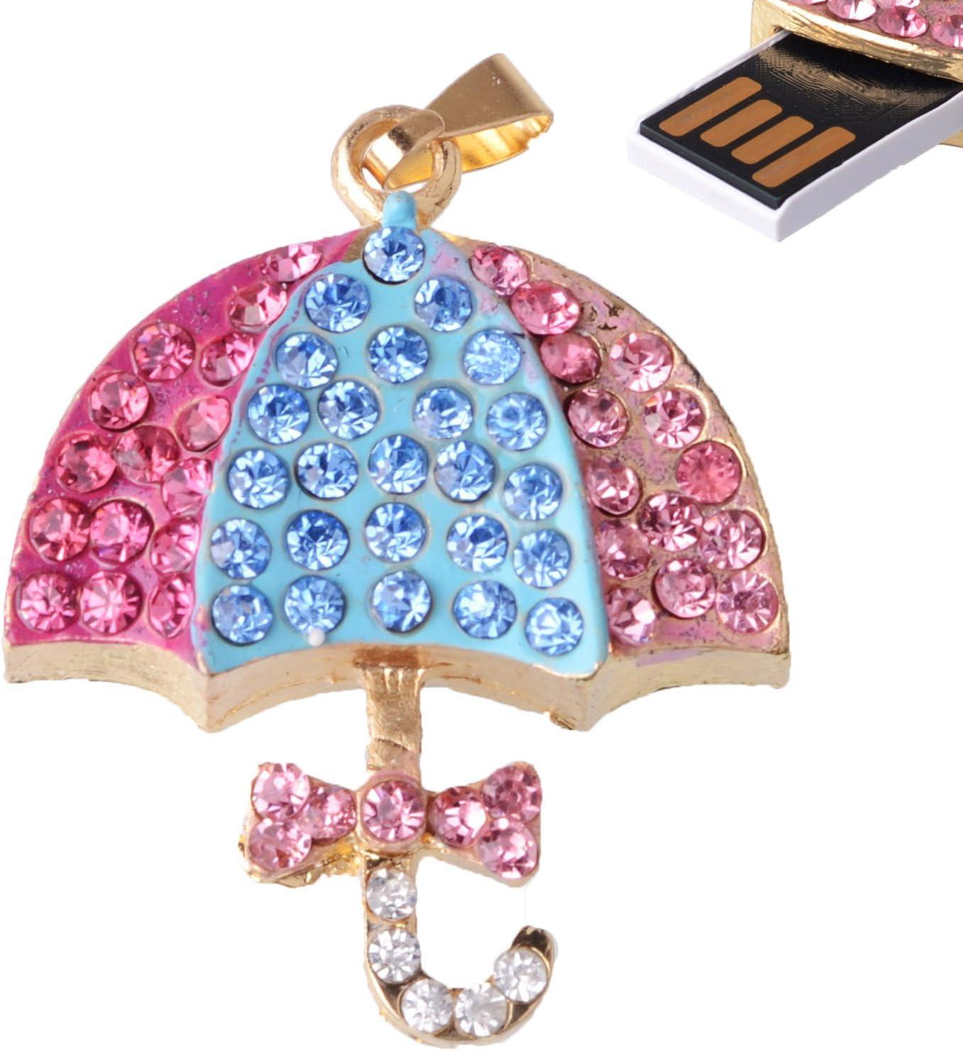 LHN 8GB Crystal Colorful Umbrella USB Flash Drive USB 2.0 with Rhinestones Pink