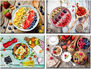 Nachic Wall 4 Piece Canvas Art Kitchen pictures wall decor colorful fruit yogurt on vintage wood table photos art print still life food painting for dining room decoration Ready to Hang