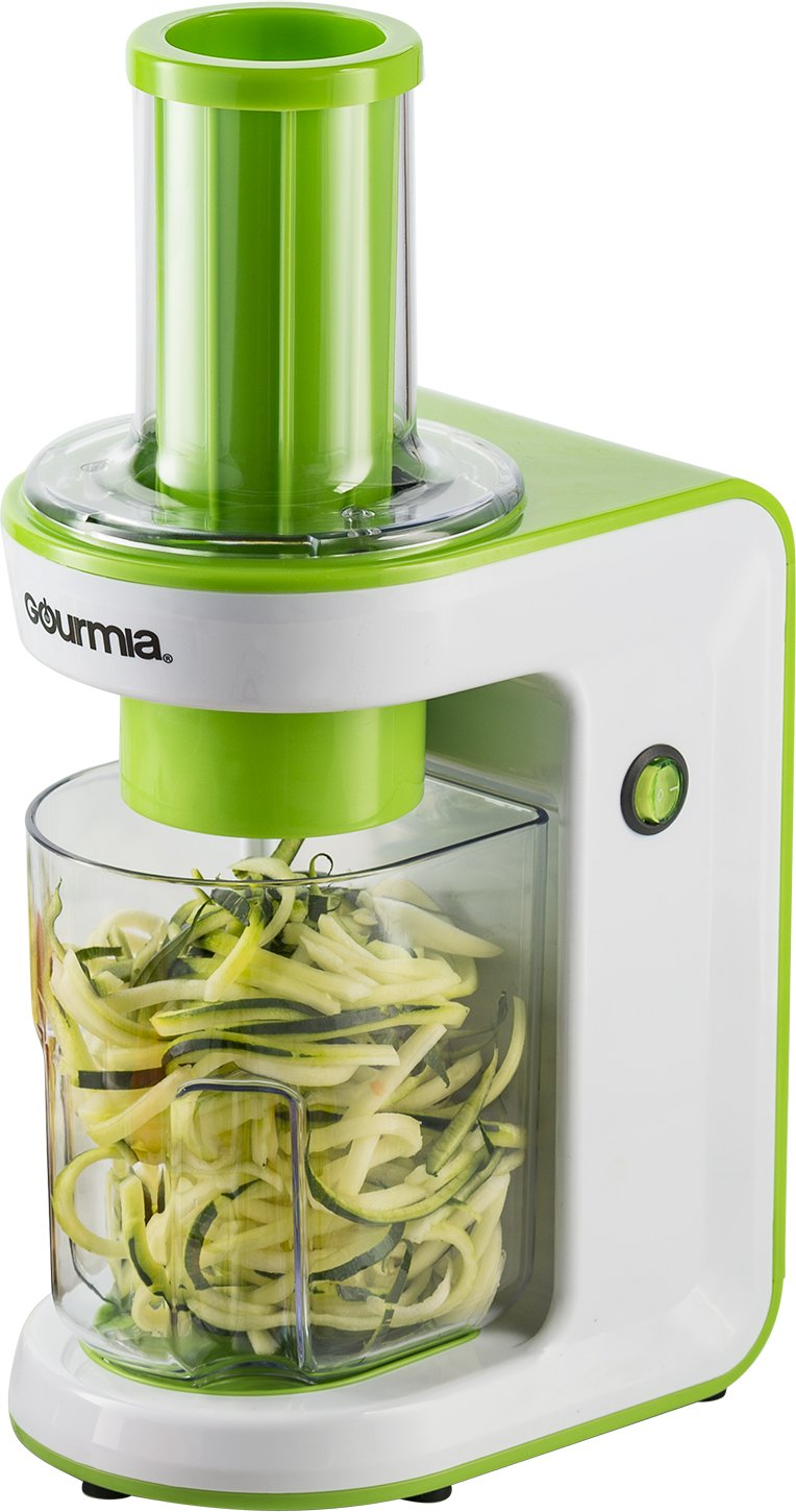 Gourmia GES580 Electric Spiralizer and Slicer for Vegetables & Pasta Maker with 3 Blades for Spaghetti Fettuccine & Ribbon Noodles Free Recipe Book Included - 110V