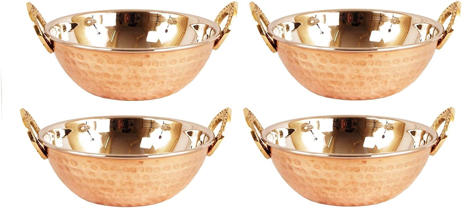 YADAV HANDICRAFTS Steel Hammered Copper Serveware Accessories - Karahi Pan Bowls for Indian Food Serving Bowl Karahi Solid Brass Handle Approx Diameter- 5 Inches, Capacity 500 ML Gift Set of 4 Pcs.