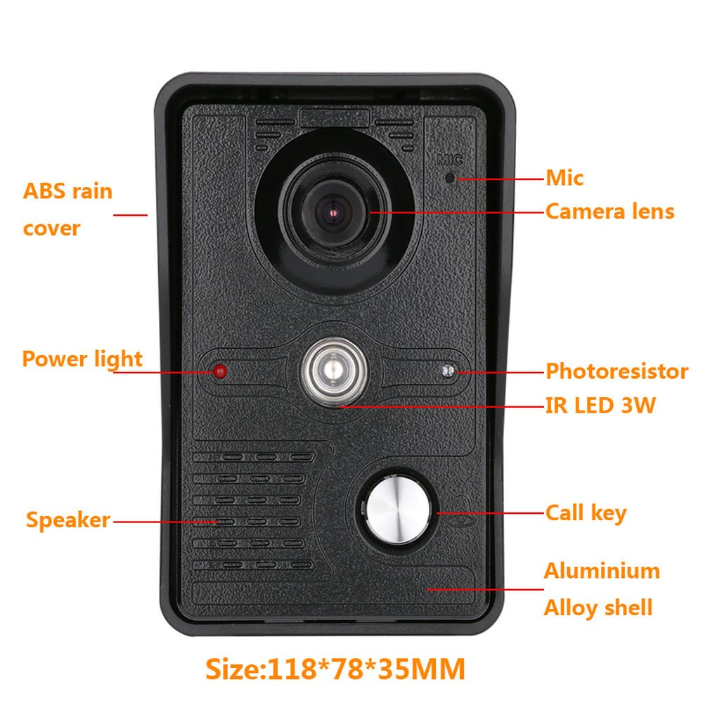 GAMWATER 7 Inch Video Door Phone Doorbell Intercom Kit 1-camera 2-monitor Night Vision with IR-CUT HD 1000TVL Camera Handfree intercom by GAMWATER (Image #1)