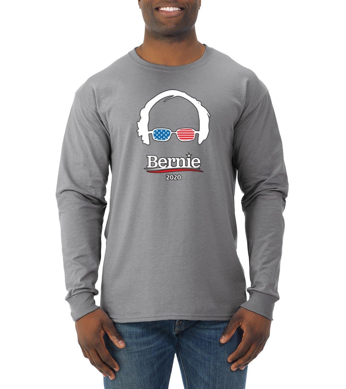 Wild Bobby Bernie 2020 USA Glasses   Mens Political Long Sleeve T-Shirt, Heather Grey, Medium
