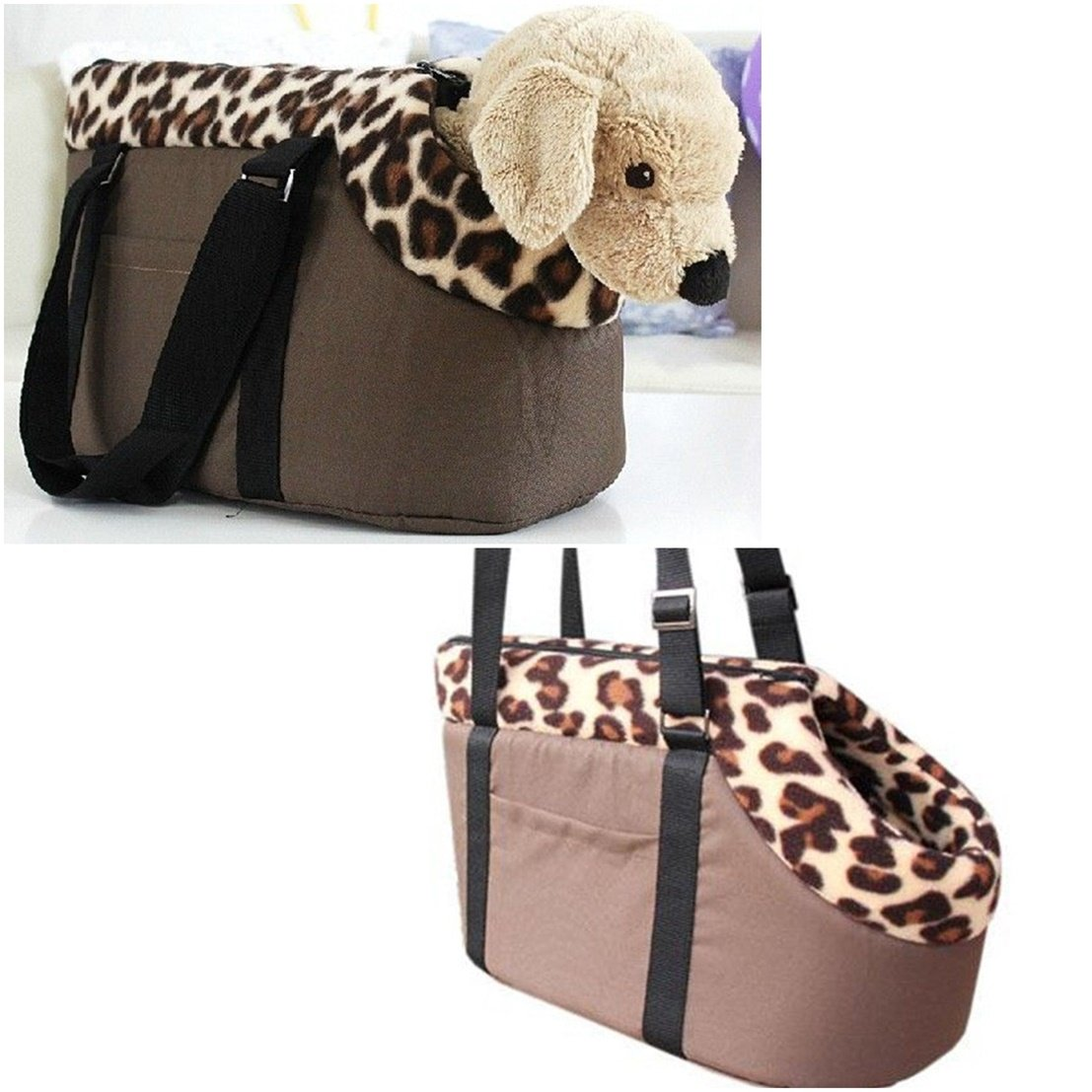 Great Popular Pet Handbag Size M Fabric Carry Bag Cat Nesting Folding Collapsible Color Coffee Leopard