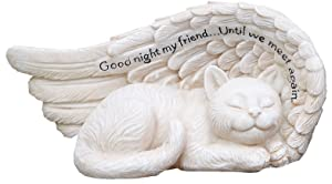 Napco 11147 Small Sleeping Cat in Angel's Wing Garden Statue with Inscription, 8 x 4