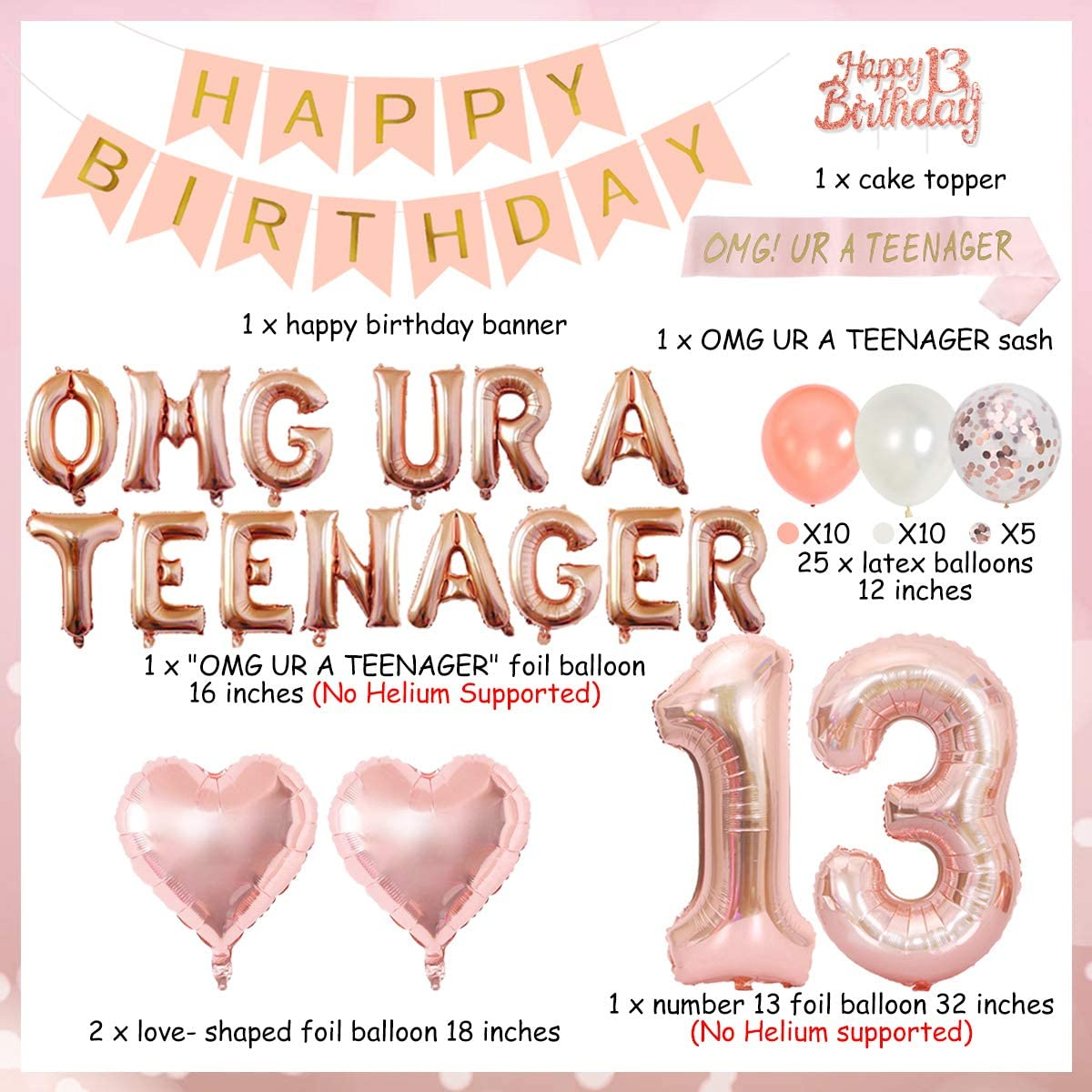 Official Teenager Birthday Party Decoration 13th Birthday Party Decorations for Girls with Rose Gold Omg Ur A Teenager Balloons Banner Sash Tinsel Cake Topper