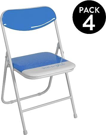 duehome (Candy) Pack 4 sillas Plegables Estructura metálica y PVC Brillante 47x46x76 cm de Altura (Azul): Amazon.es: Hogar