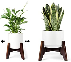 Seanmi Plant Stands for Indoor Plants, Bamboo Plant Stand, Mid Century Plant Holder, Adjustable Width, Fits 8 9 10 11 12 inches Pots - Dark Brown (Planter Stand Only)