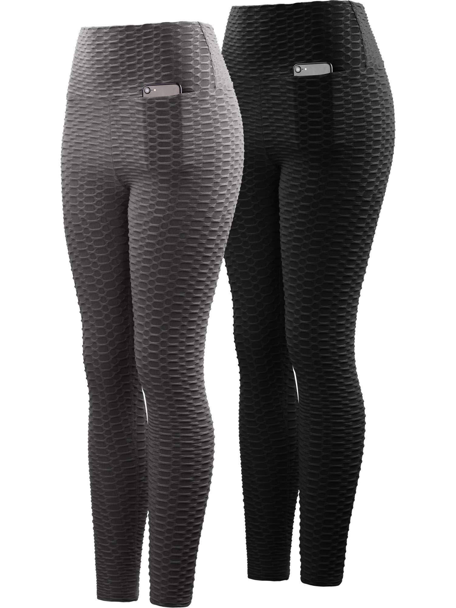 Neleus Women's 2 Pack Tummy Control High Waist Leggings Out Pocket,9036,Black/Grey,S,EU M