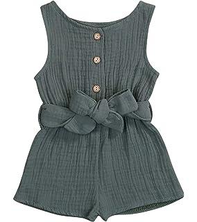 JELLYKIDS Baby Girl Sleeveless Romper Newborn Infant Girl Straps Ruffle Jumpsuit Summer Outfits