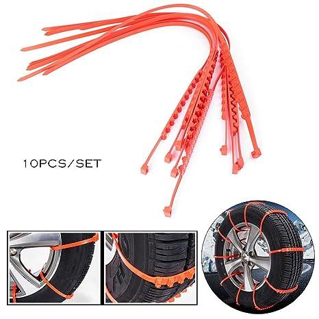 Timmart - 10 cadenas de neumáticos antideslizantes de emergencia para el invierno para neumáticos de coche