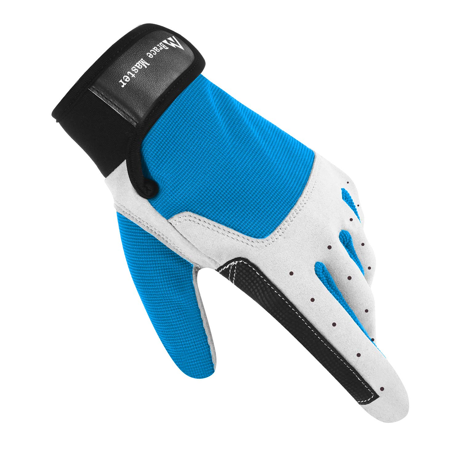 Brace Master Sailing Gloves Men Women for Sailing, Fishing, Boating, Kayaking, Surfing, Canoe Padding, Dinghy and Water Sports, Leather in Palm to Enhance Gripping (F Blue, Large) by Brace Master