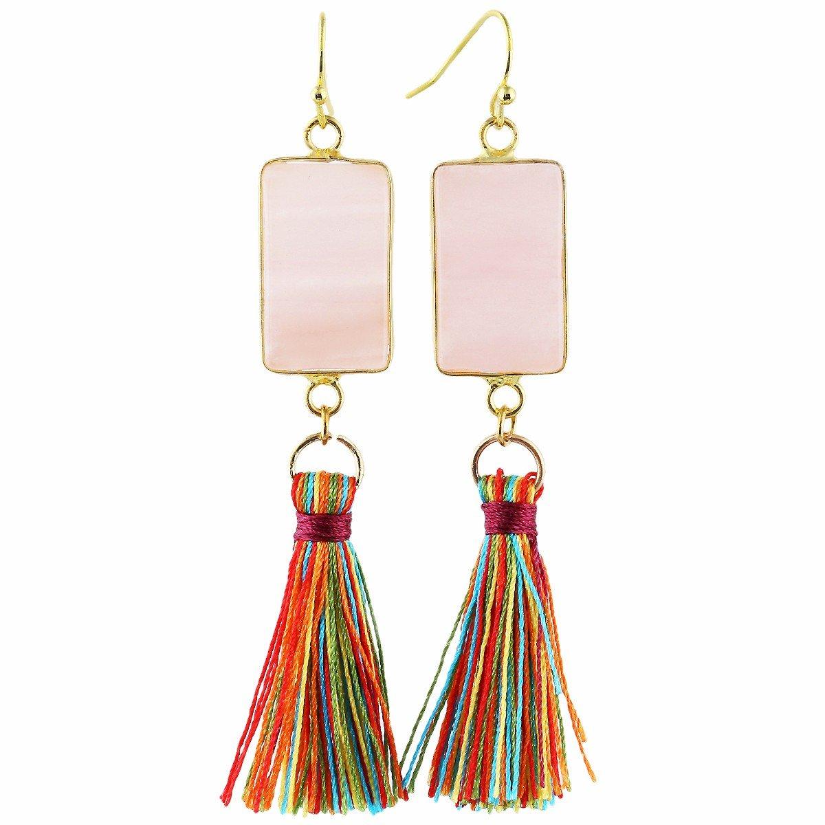 TUMBEELLUWA Tassel Dangle Earrings Handmade Healing Crystals Oblong Stone Drop Earrings for Women, Pink Crystal