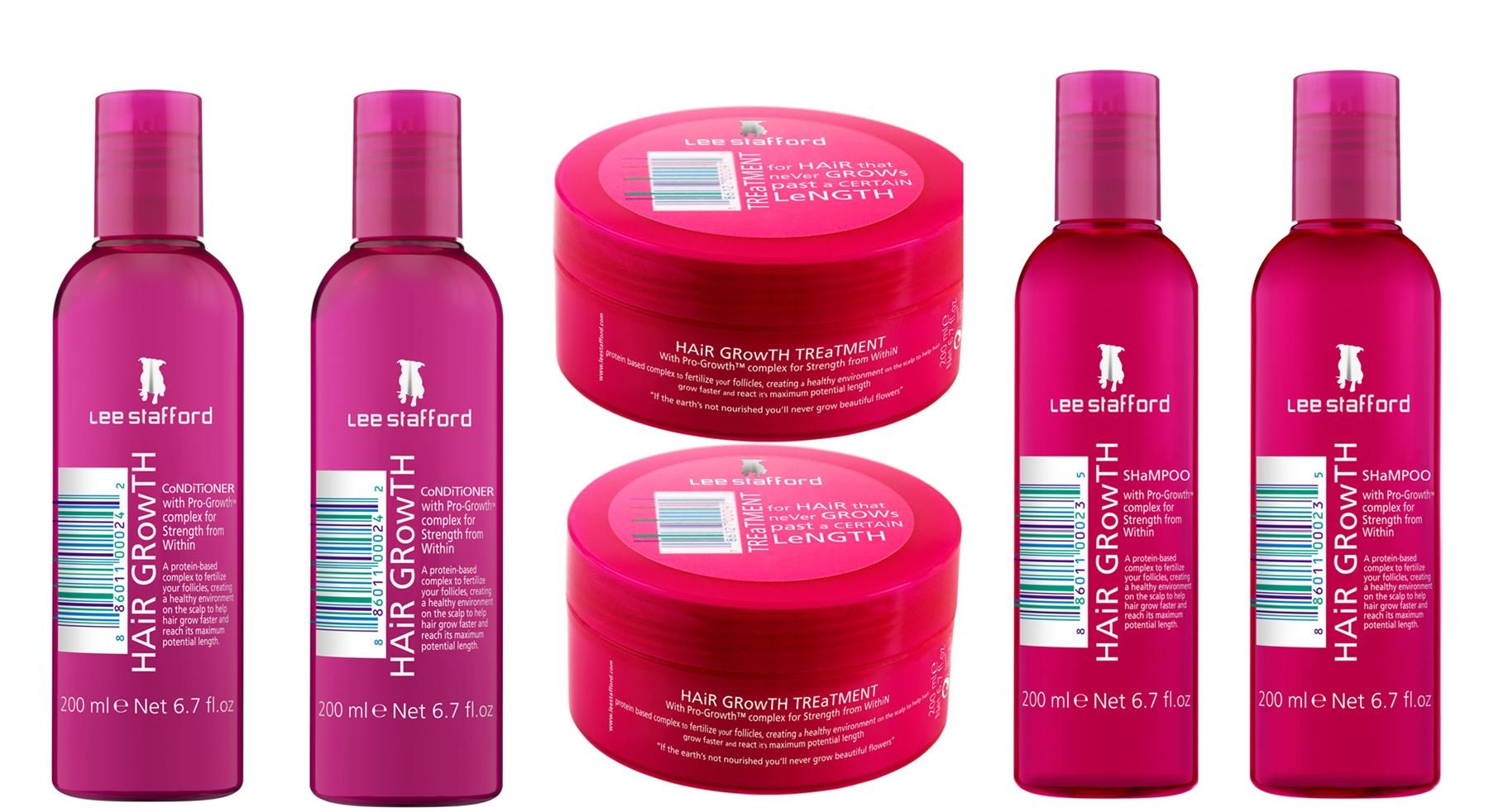 Lee Stafford Hair Growth Treatment x 2, Shampoo x 2 & Conditioner x 2 Bundle