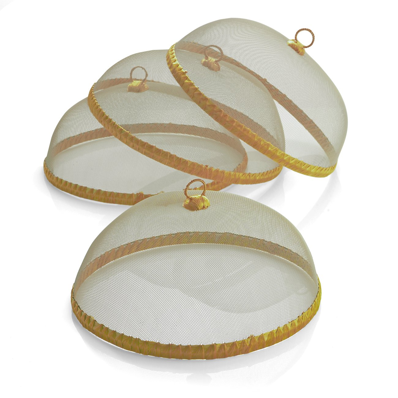 Woodard and Charles WDS041-4AMA Round Food Domes (Set of 4), 14'' x 5-1/2'', Gold