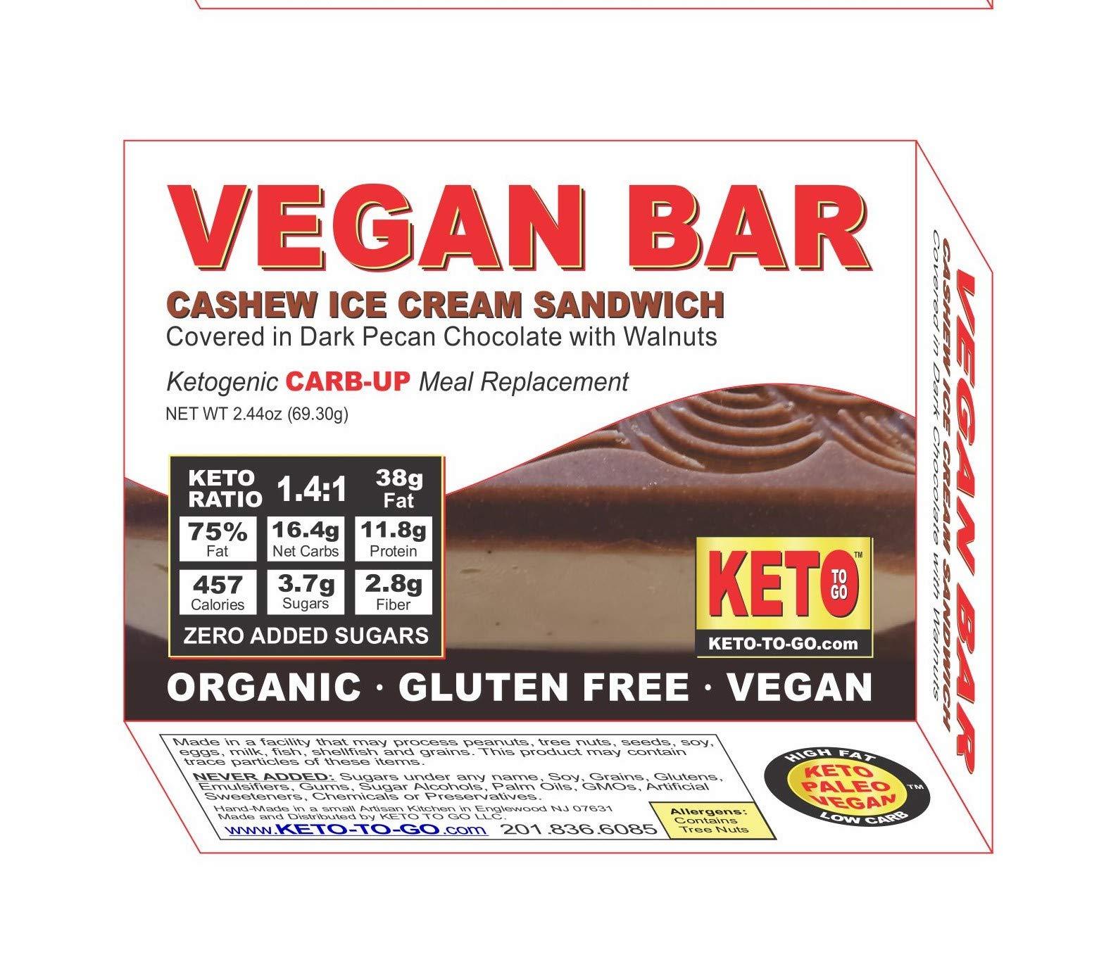 Vegan BAR - Cashew Vanilla Ice Cream Sandwich - Organic, Raw, Low Carb, Sugar Free, Gluten Free, Dairy Free, Soy Free, Vegan! 3-Pak by KETO TO GO