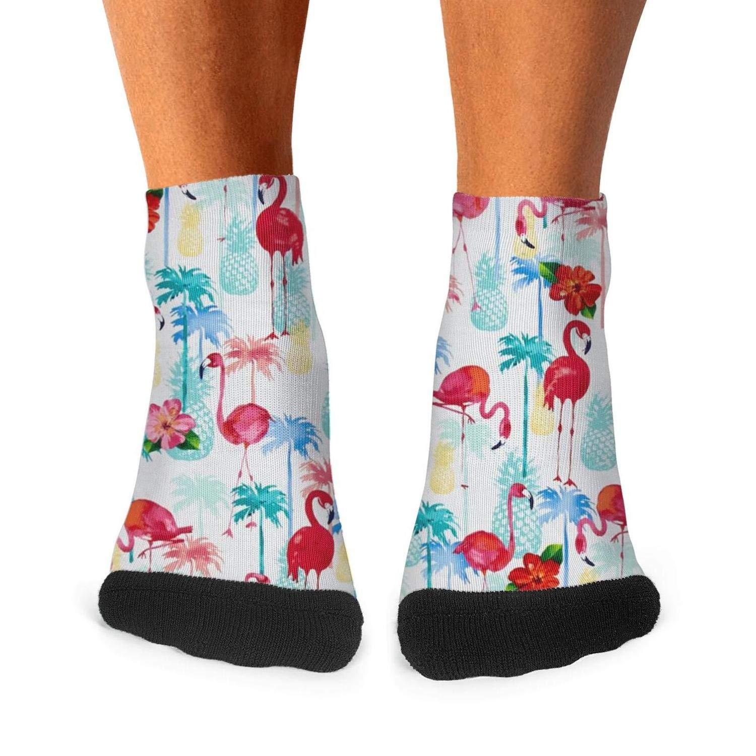 Floowyerion Mens Pineapple Pink Flamingo Coconut Tree Flower Novelty Sports Socks Crazy Funny Crew Tube Socks