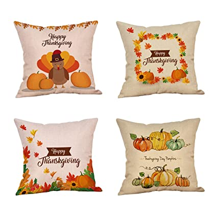 KissDate Thanksgiving Decorative Throw Pillow Covers, 4Packs 18 x18 Inch Cotton Linen Square Cushion Throw Pillow Case for Home Sofa Bedding ...