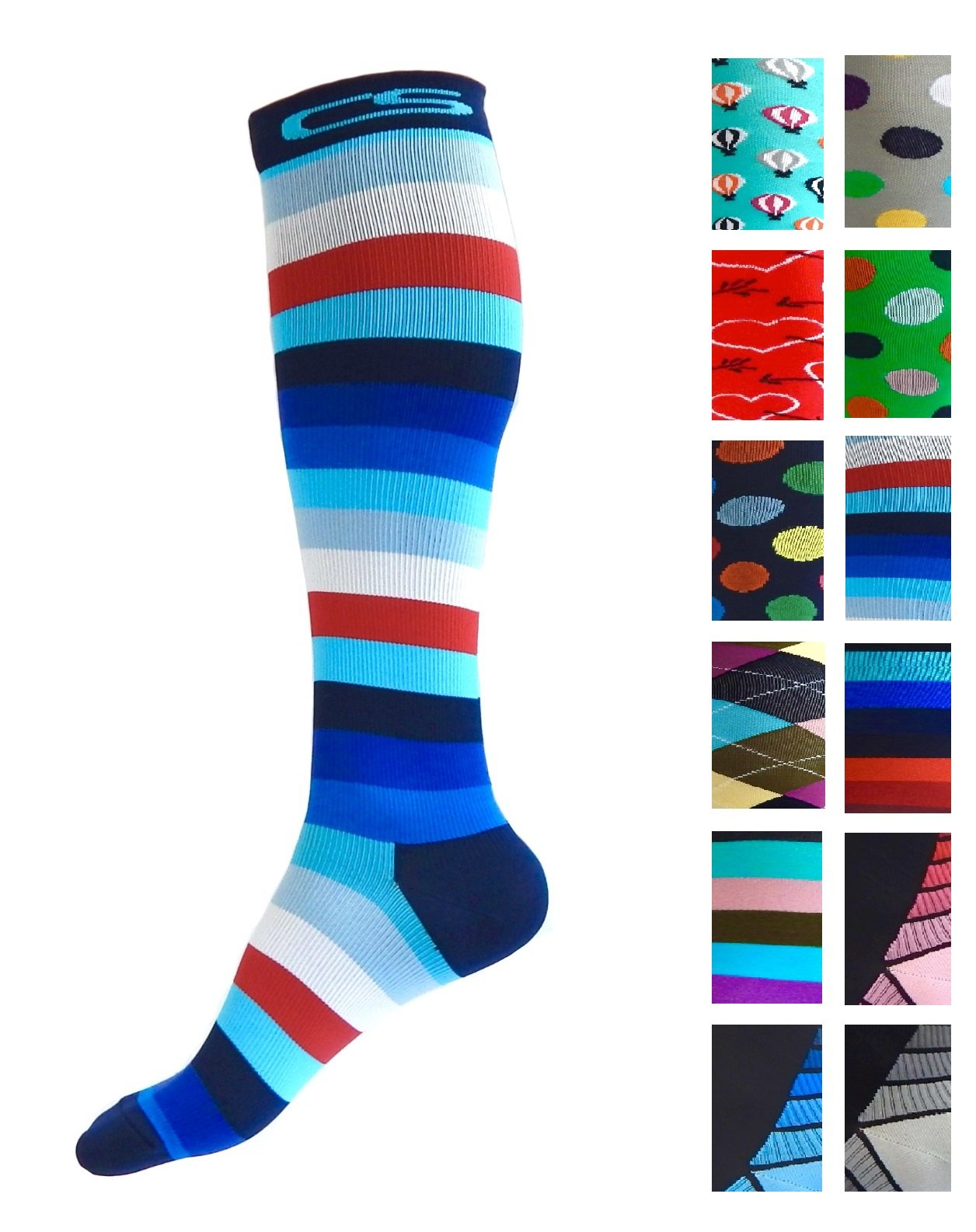 Compression Socks for Men & Women - BEST Graduated Athletic Fit for Running, Nurses, Shin Splints, Flight Travel, Maternity Pregnancy - Boost Stamina, Circulation & Recovery (Cool Stripes, S/M)