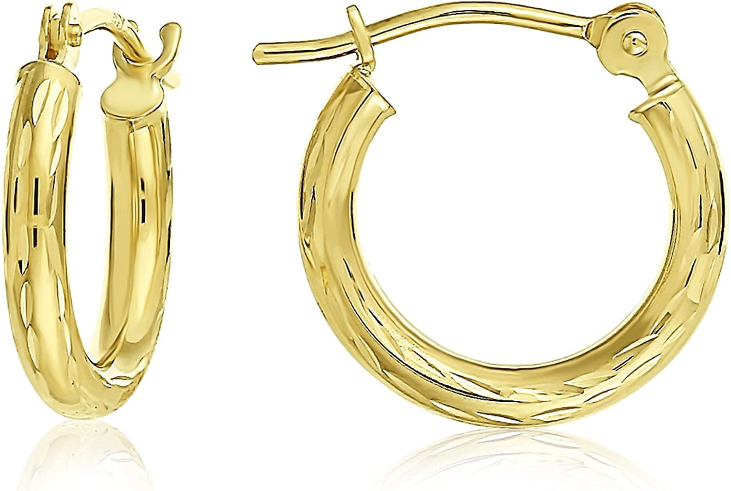 14k Yellow Gold Hand Engraved Full Diamond-cut Round Hoop Earrings