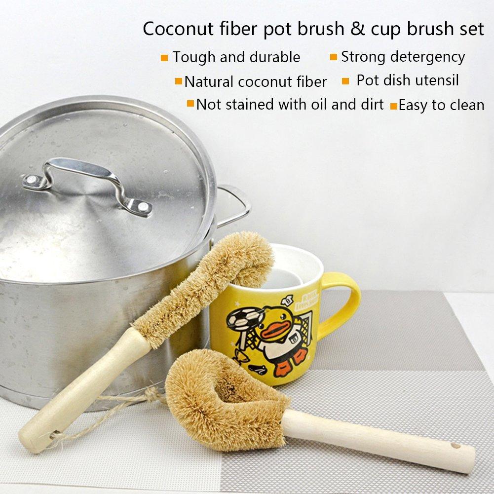 Bulary Beechwood Brush Coir Coconut Fiber Long Handle Pot Vacuum Cup Kettle Cup Cleaning Brush
