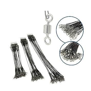 72pcs Wire Spinner Leader Hooks Swivel Interlock Snaps Anti-bite lines 15-30cm