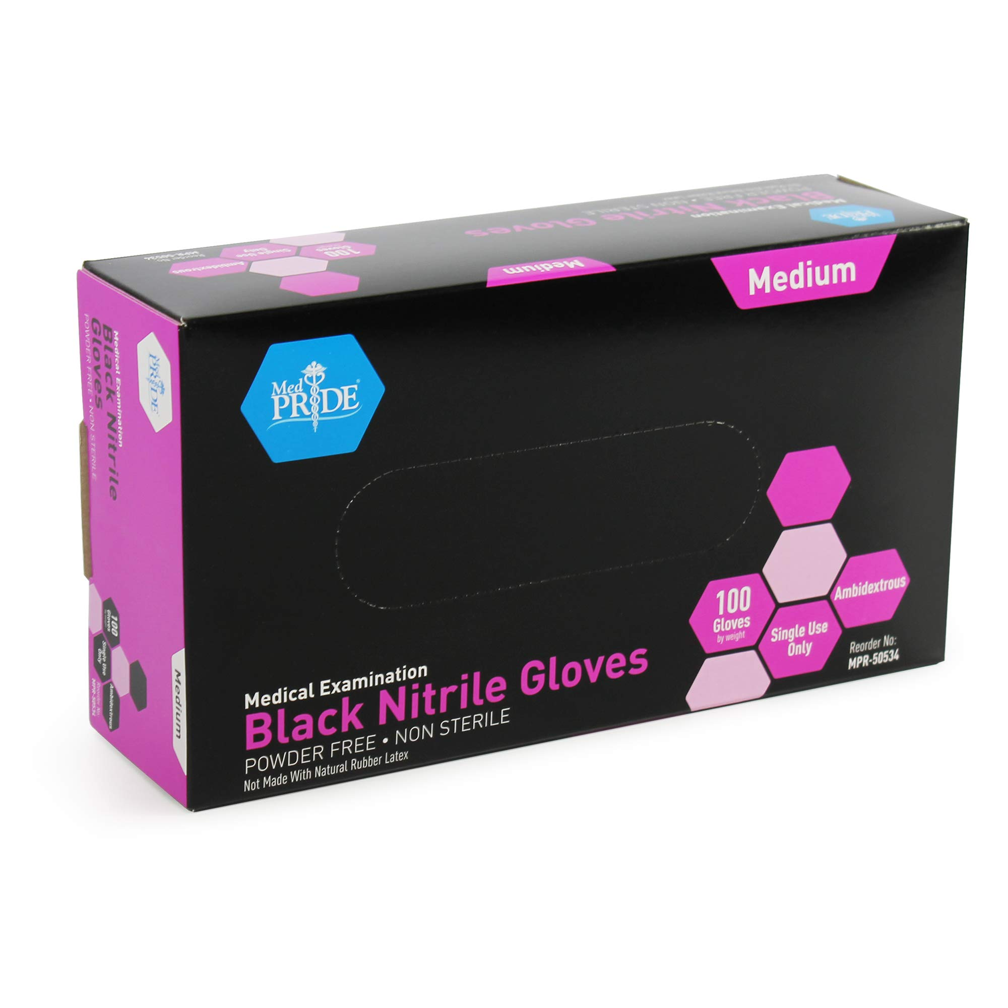 Medpride Medical Examination Nitrile Gloves| Medium Box of 100| Black, Latex/Powder-Free, Non-Sterile Gloves| Professional Grade for Hospitals, Law Enforcement, Food Vendors, Tattoo Artists, Home Use