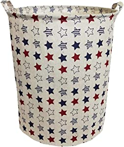 """TIBAOLOVER 19.7""""Large Sized Waterproof Foldable Laundry Hamper Bucket,Dirty Clothes Laundry Basket, Bin Storage Organizer for Toy Collection,Canvas Storage Basket with Stylish Design(Colourful Stars)"""