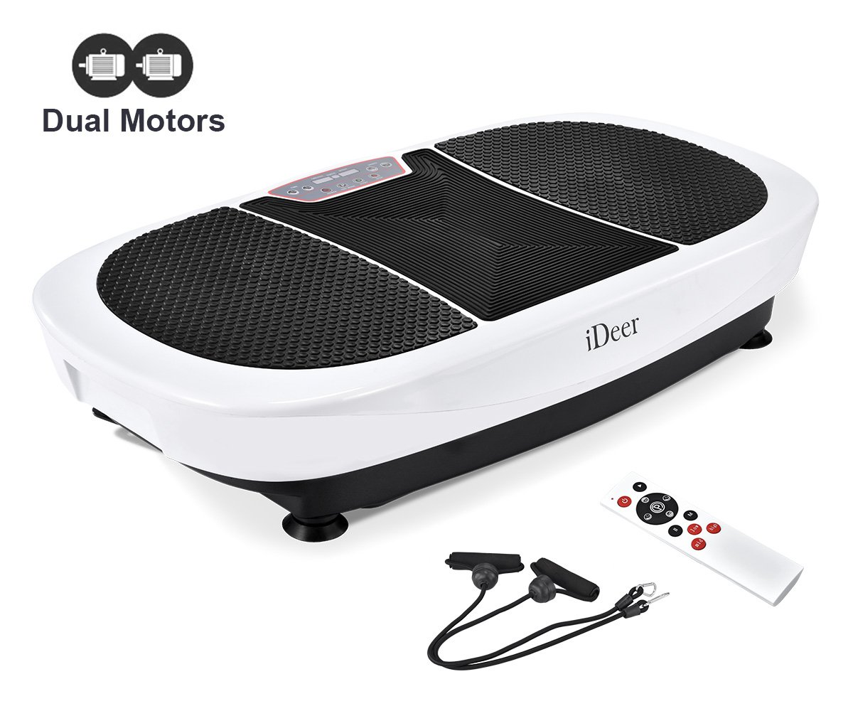 iDeer Vibration Platform Fitness Vibration Plates,Whole Body Vibration Exercise Machine w/Remote Control &Bands,Anti-Slip Fit Massage Workout Vibration Trainer Max User Weight 330lbs (White09007)